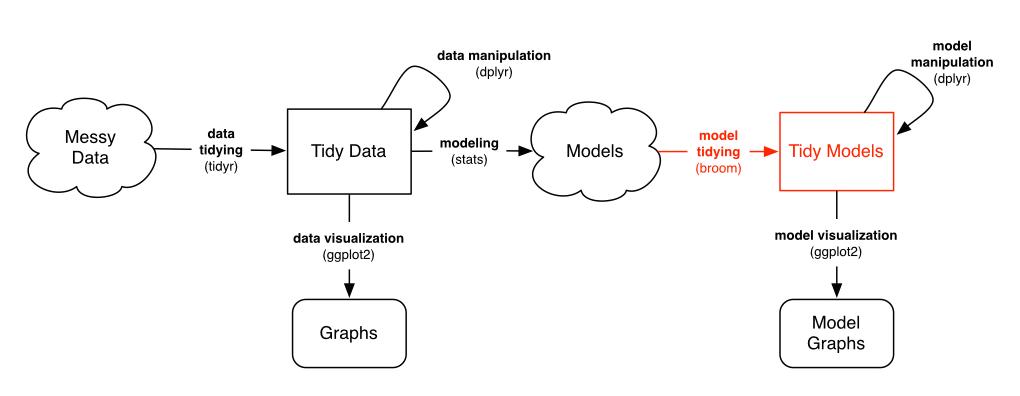 Flowchart of a tidy data workflow
